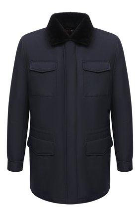 Мужская куртка с меховой подкладкой KITON темно-синего цвета, арт. UW0315MV03T58 | Фото 1
