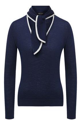Женская шерстяной пуловер GIORGIO ARMANI синего цвета, арт. 6HAMB1/AMB4Z | Фото 1