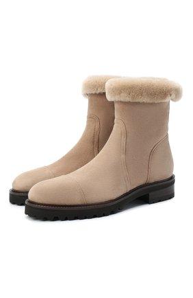 Женские замшевые ботинки KITON бежевого цвета, арт. D50805X04T78 | Фото 1