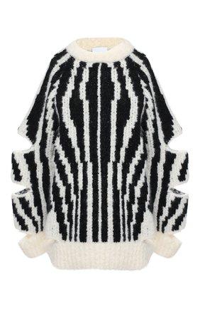 Женская шерстяной свитер BURBERRY черно-белого цвета, арт. 8030051 | Фото 1