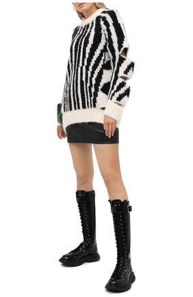 Женская шерстяной свитер BURBERRY черно-белого цвета, арт. 8030051 | Фото 2