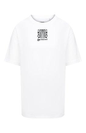 Женская хлопковая футболка BURBERRY белого цвета, арт. 8030772 | Фото 1