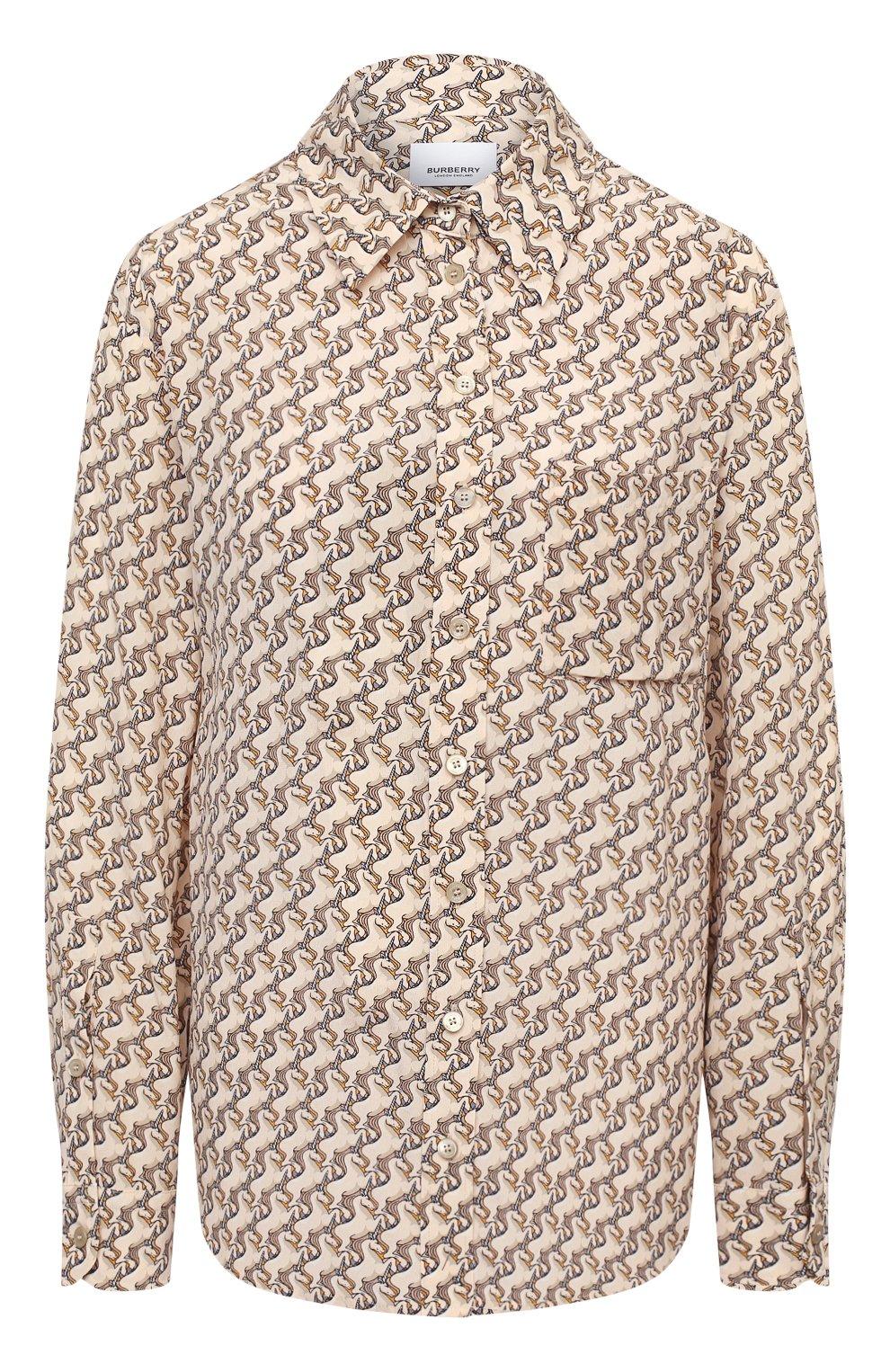 Женская шелковая рубашка BURBERRY бежевого цвета, арт. 8032108   Фото 1