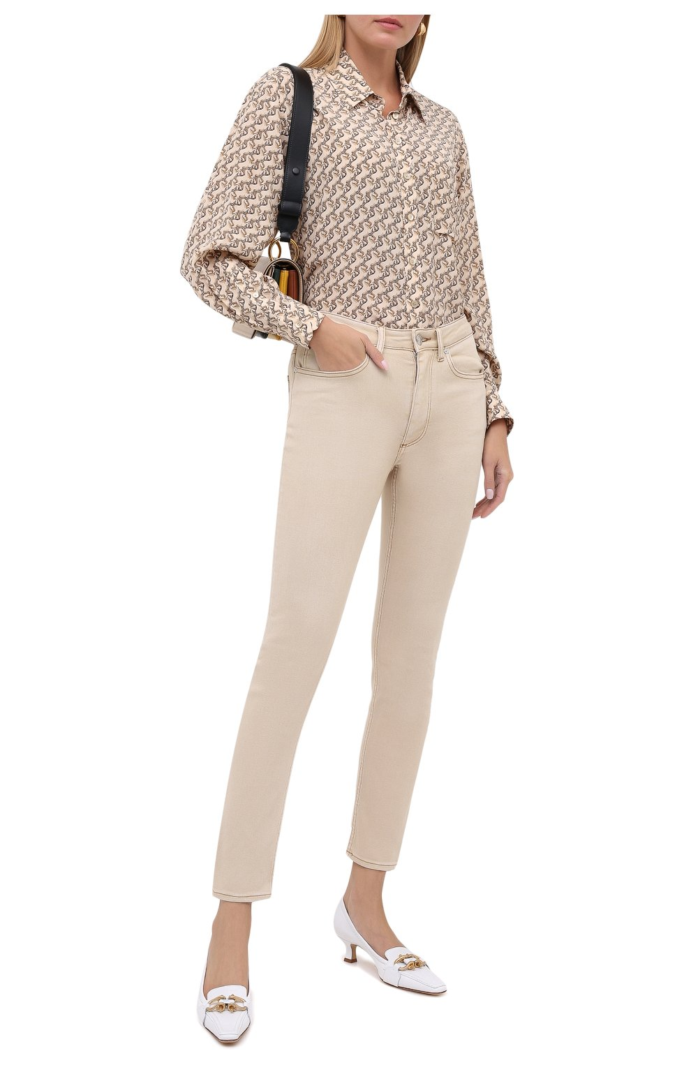 Женская шелковая рубашка BURBERRY бежевого цвета, арт. 8032108   Фото 2