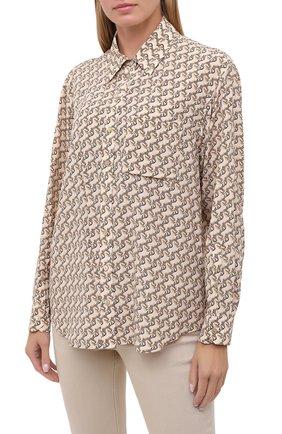 Женская шелковая рубашка BURBERRY бежевого цвета, арт. 8032108   Фото 3