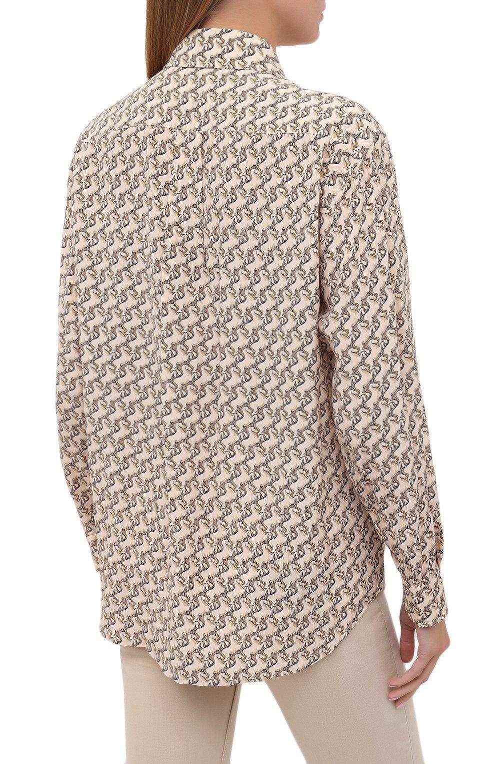 Женская шелковая рубашка BURBERRY бежевого цвета, арт. 8032108   Фото 4