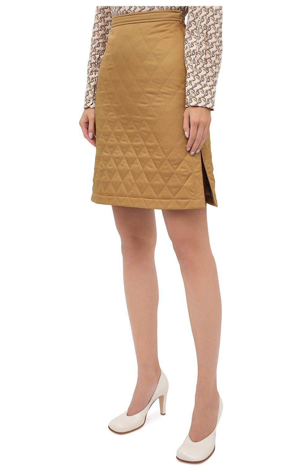 Женская юбка BURBERRY бежевого цвета, арт. 8032290 | Фото 3