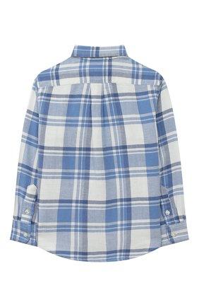 Детская хлопковая рубашка POLO RALPH LAUREN голубого цвета, арт. 321785811 | Фото 2 (Рукава: Длинные; Материал внешний: Хлопок; Случай: Повседневный)