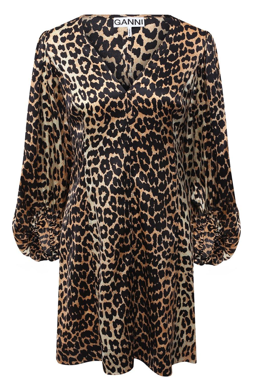 Женское шелковое платье GANNI коричневого цвета, арт. F4834 | Фото 1