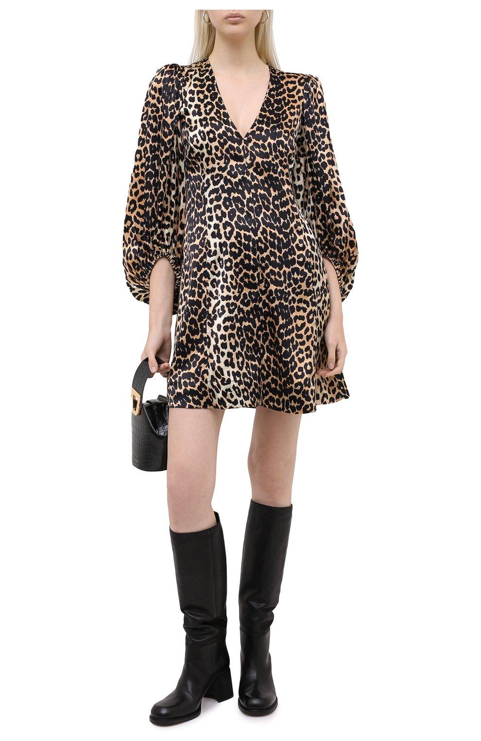 Женское шелковое платье GANNI коричневого цвета, арт. F4834 | Фото 2