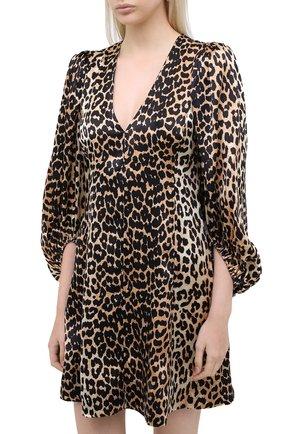 Женское шелковое платье GANNI коричневого цвета, арт. F4834 | Фото 3