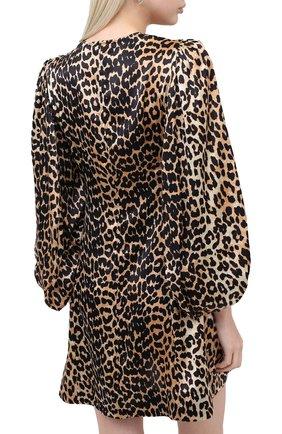 Женское шелковое платье GANNI коричневого цвета, арт. F4834 | Фото 4