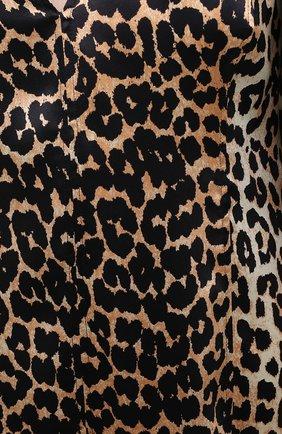 Женское шелковое платье GANNI коричневого цвета, арт. F4834 | Фото 5