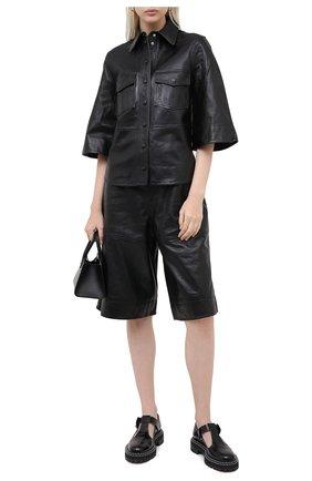 Женская кожаная рубашка GANNI черного цвета, арт. F4945 | Фото 2
