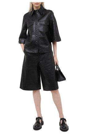 Женские кожаные шорты GANNI черного цвета, арт. F4947 | Фото 2
