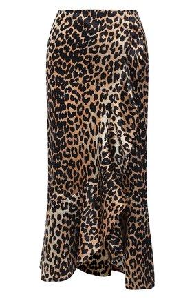 Женская шелковая юбка GANNI коричневого цвета, арт. F4998 | Фото 1