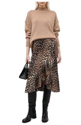 Женская шелковая юбка GANNI коричневого цвета, арт. F4998 | Фото 2