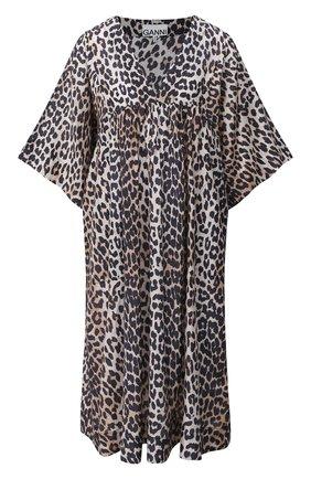 Женское платье из хлопка и шелка GANNI коричневого цвета, арт. F5284 | Фото 1