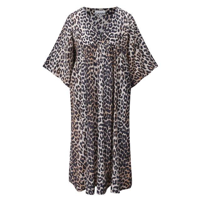 Платье из хлопка и шелка Ganni