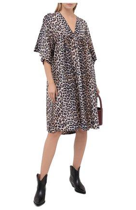 Женское платье из хлопка и шелка GANNI коричневого цвета, арт. F5284 | Фото 2