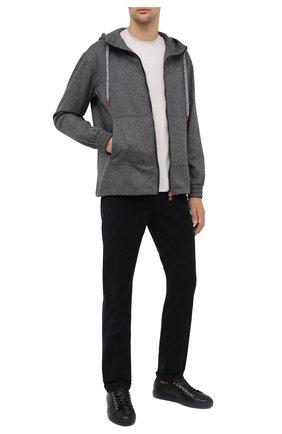 Мужские брюки из хлопка и шерсти KITON черного цвета, арт. UPNJSJ02T40   Фото 2