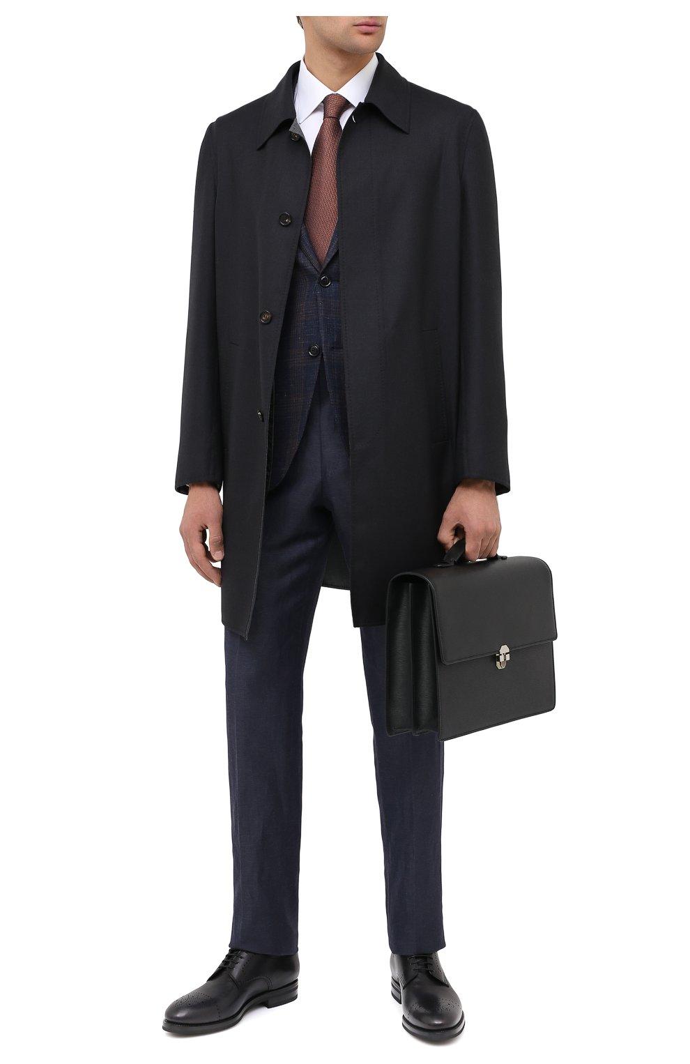 Мужские кожаные дерби KITON черного цвета, арт. USSDECHN00100   Фото 2