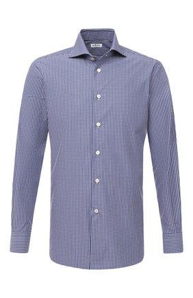 Мужская хлопковая сорочка KITON синего цвета, арт. UCCH0746808 | Фото 1