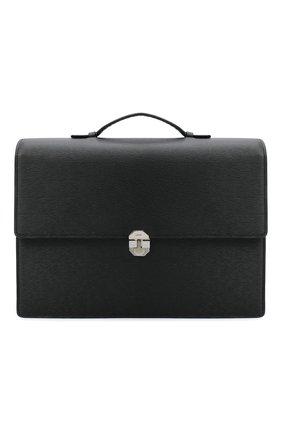 Мужской кожаный портфель KITON черного цвета, арт. UBNYSEN00815   Фото 1