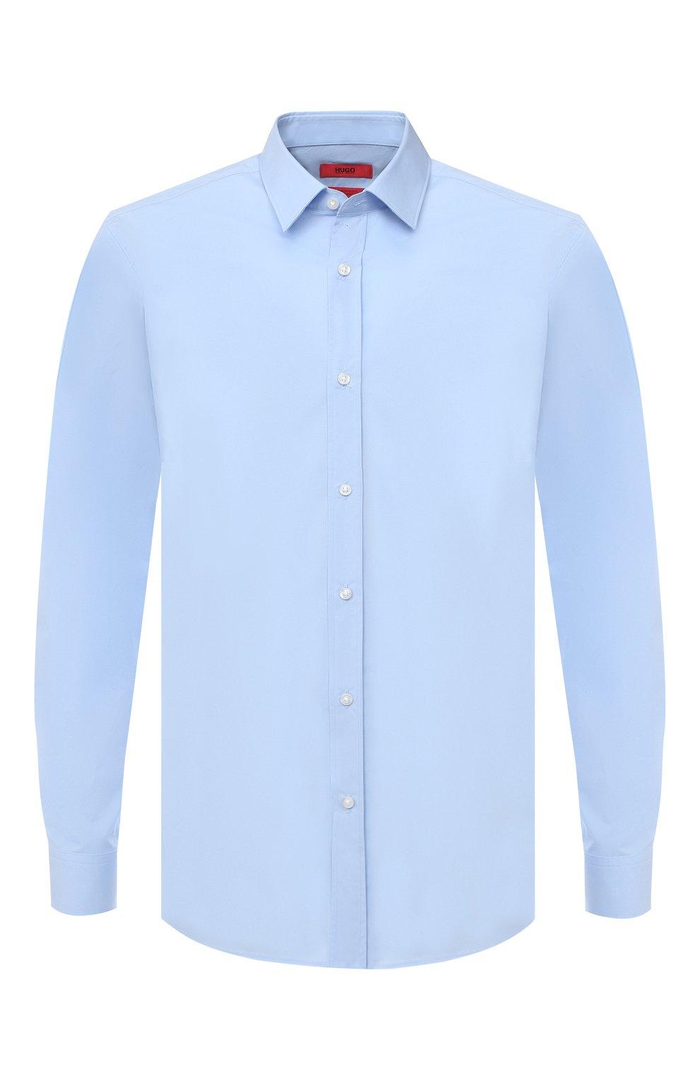 Мужская хлопковая сорочка HUGO голубого цвета, арт. 50425897 | Фото 1 (Воротник: Кент; Рукава: Длинные; Длина (для топов): Стандартные; Материал внешний: Хлопок; Стили: Классический; Случай: Формальный)