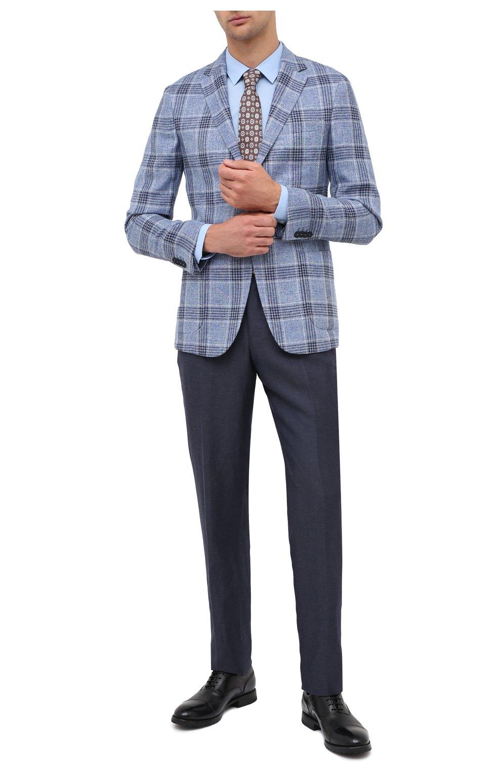 Мужская хлопковая сорочка HUGO голубого цвета, арт. 50425897 | Фото 2 (Воротник: Кент; Рукава: Длинные; Длина (для топов): Стандартные; Материал внешний: Хлопок; Стили: Классический; Случай: Формальный)