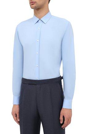 Мужская хлопковая сорочка HUGO голубого цвета, арт. 50425897 | Фото 3 (Воротник: Кент; Рукава: Длинные; Длина (для топов): Стандартные; Материал внешний: Хлопок; Стили: Классический; Случай: Формальный)