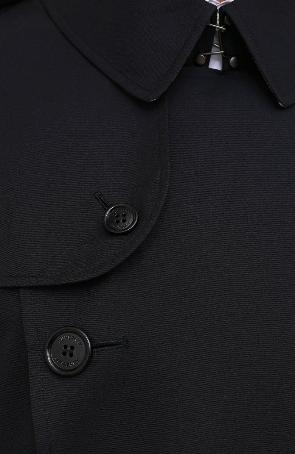 Мужской хлопковый тренч kensington BURBERRY темно-синего цвета, арт. 8028105   Фото 5