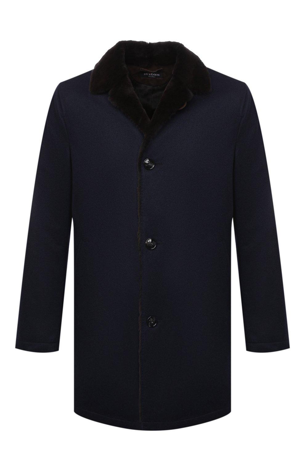 Мужской кашемировое пальто с меховой подкладкой KITON темно-синего цвета, арт. UW0480MV03R70 | Фото 1