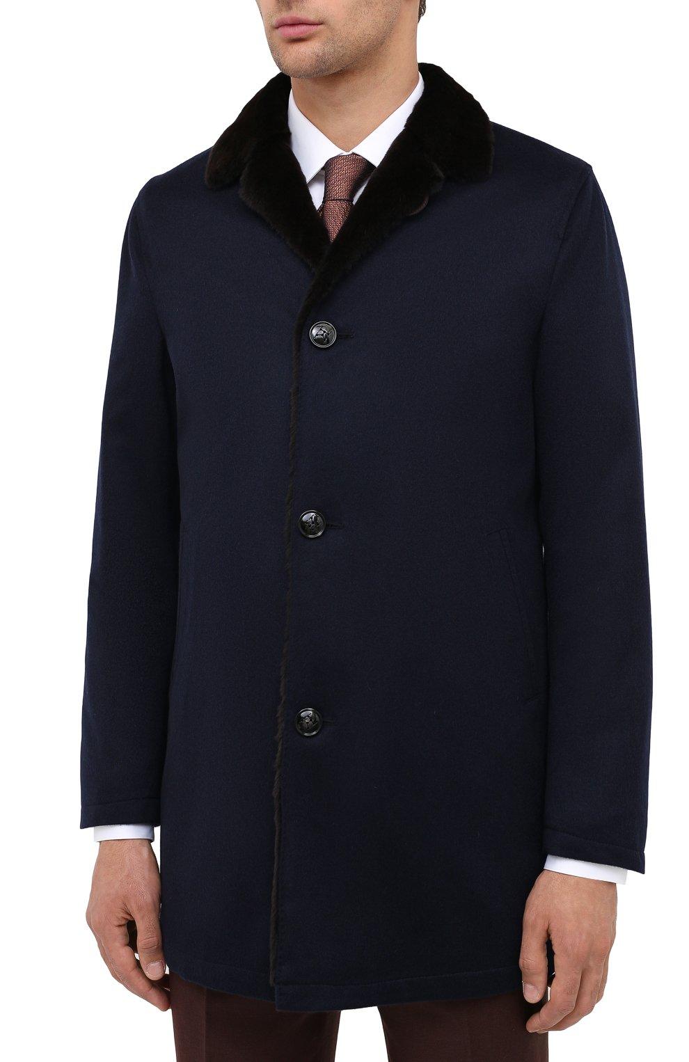 Мужской кашемировое пальто с меховой подкладкой KITON темно-синего цвета, арт. UW0480MV03R70 | Фото 3
