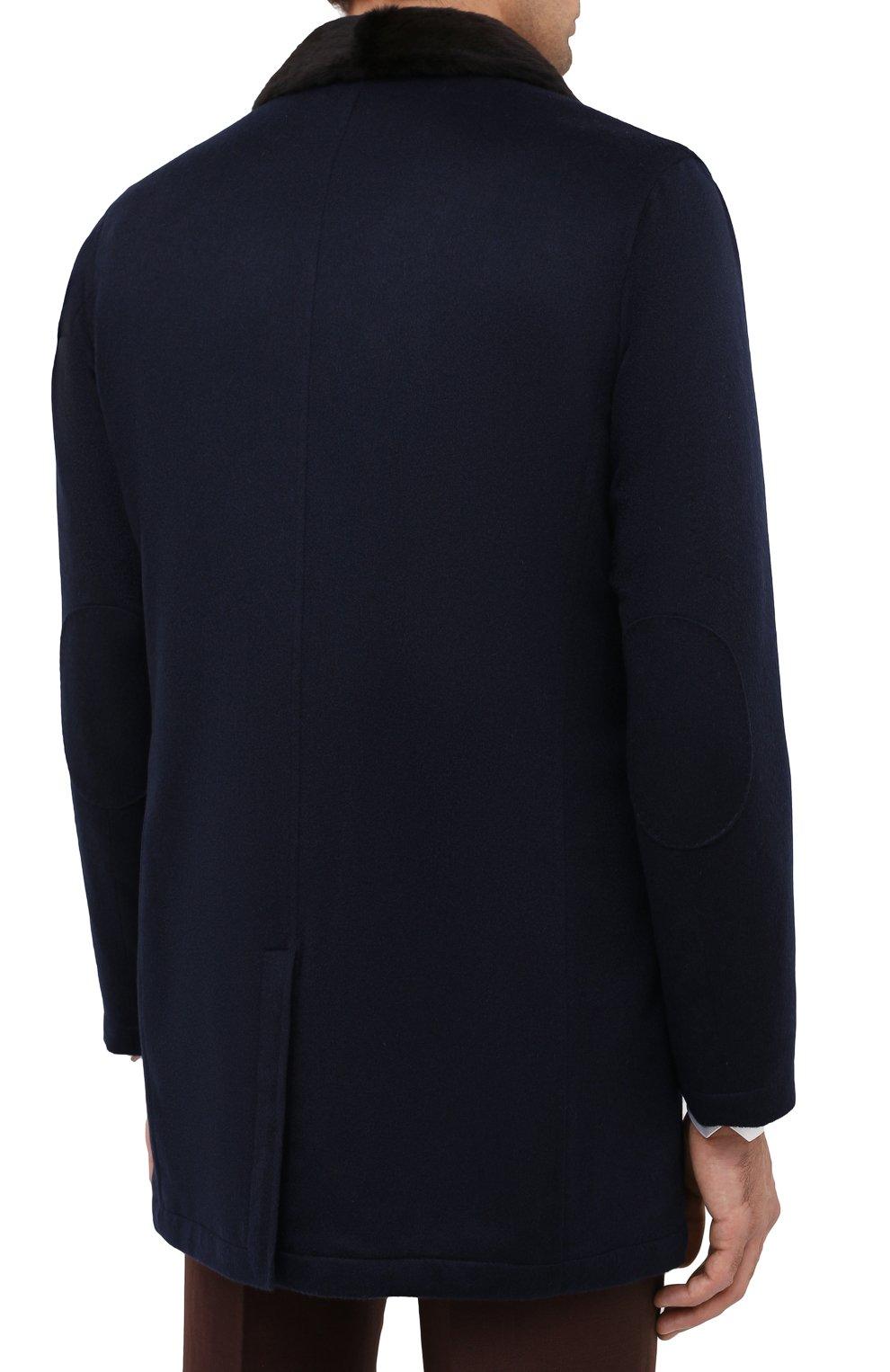 Мужской кашемировое пальто с меховой подкладкой KITON темно-синего цвета, арт. UW0480MV03R70 | Фото 4