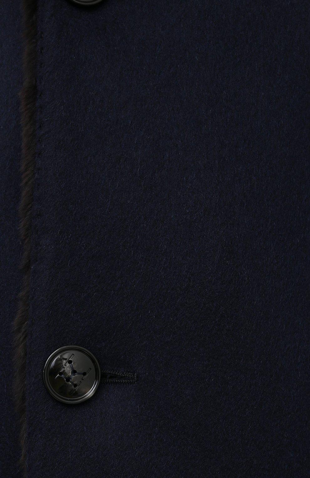 Мужской кашемировое пальто с меховой подкладкой KITON темно-синего цвета, арт. UW0480MV03R70 | Фото 5