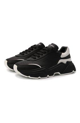 Женские кожаные кроссовки daymaster DOLCE & GABBANA черного цвета, арт. CK1791/AX589 | Фото 1 (Подошва: Платформа; Материал внутренний: Натуральная кожа)