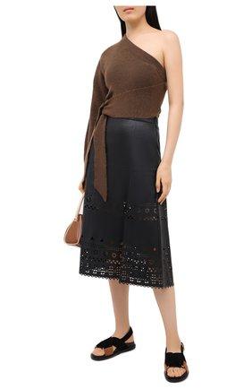 Женская кожаная юбка POLO RALPH LAUREN черного цвета, арт. 211800762 | Фото 2