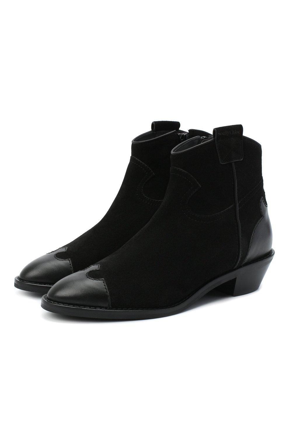Женские кожаные ботинки western SEE BY CHLOÉ черного цвета, арт. SB35041A/12080 | Фото 1