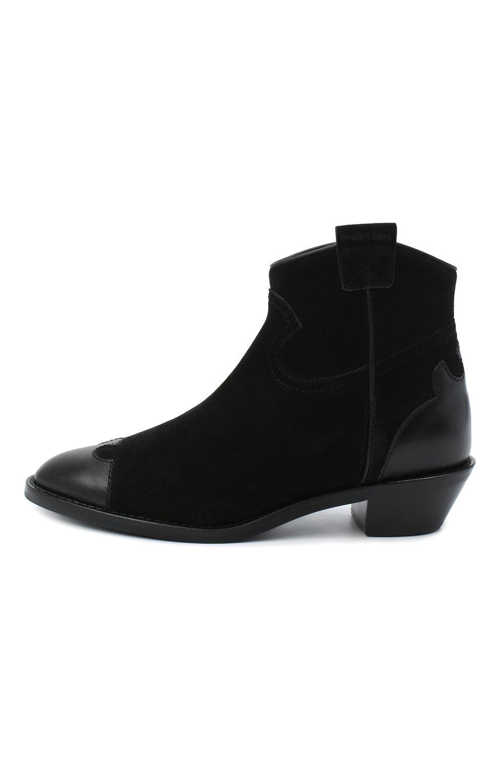 Женские кожаные ботинки western SEE BY CHLOÉ черного цвета, арт. SB35041A/12080 | Фото 3