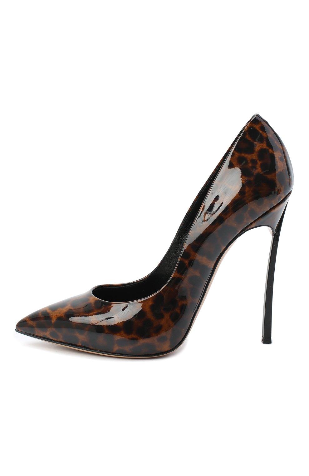 Женские кожаные туфли jolly blade CASADEI коричневого цвета, арт. 1F410D125TJUNGL7701   Фото 3