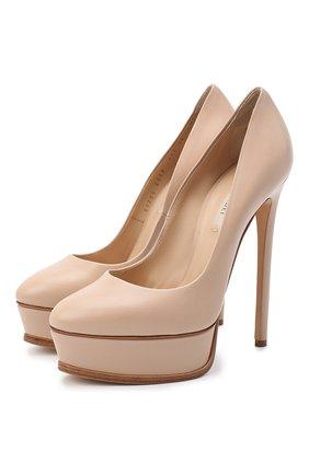 Женская кожаные туфли flora CASADEI бежевого цвета, арт. 1F436K1401MIN0R2801 | Фото 1