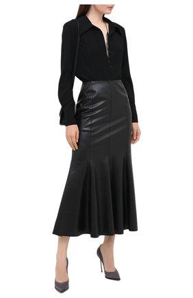 Женская замшевые туфли maxi blade CASADEI серого цвета, арт. 1F700R120MZCAM09204 | Фото 2