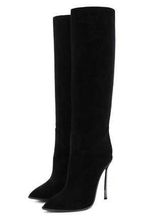Женские замшевые сапоги maxi blade CASADEI черного цвета, арт. 1S098R120MZKENT9000 | Фото 1