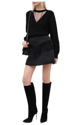 Женские замшевые сапоги maxi blade CASADEI черного цвета, арт. 1S098R120MZKENT9000 | Фото 2