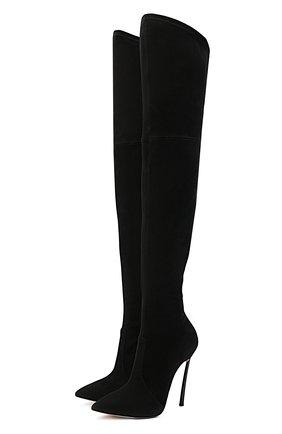 Женские замшевые ботфорты blade CASADEI черного цвета, арт. 1T000D125HHCAM09000 | Фото 1