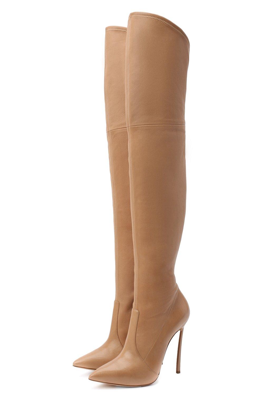 Женские кожаные ботфорты blade CASADEI бежевого цвета, арт. 1T000D125HHNAGU3113 | Фото 1