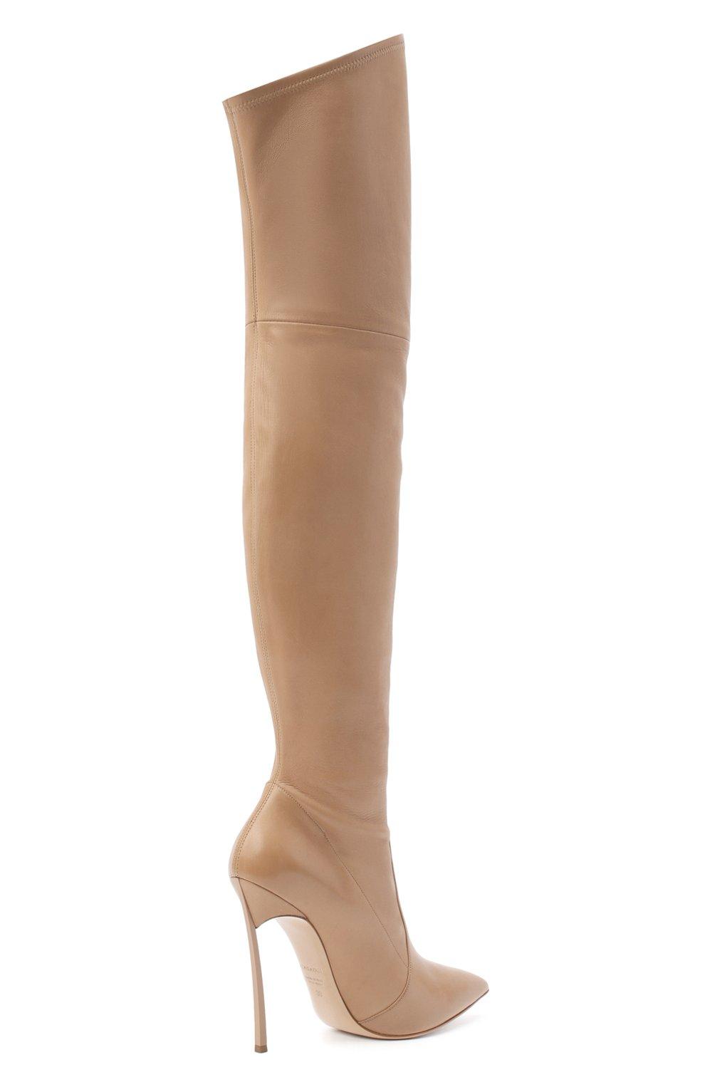 Женские кожаные ботфорты blade CASADEI бежевого цвета, арт. 1T000D125HHNAGU3113 | Фото 4