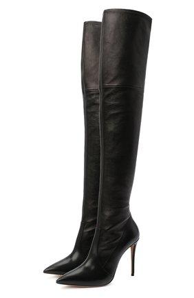 Женские кожаные ботфорты julia CASADEI черного цвета, арт. 1T853E1001T00539000 | Фото 1