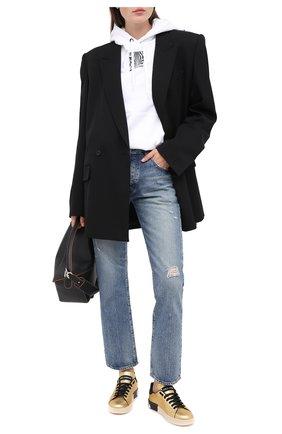 Женские кожаные кеды portofino DOLCE & GABBANA золотого цвета, арт. CK1544/AW329 | Фото 2